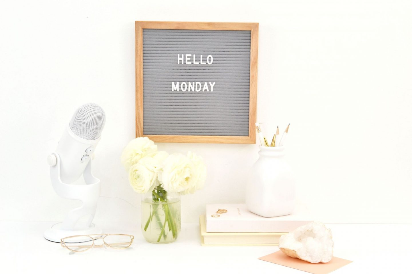 Letter board with hello Monday written