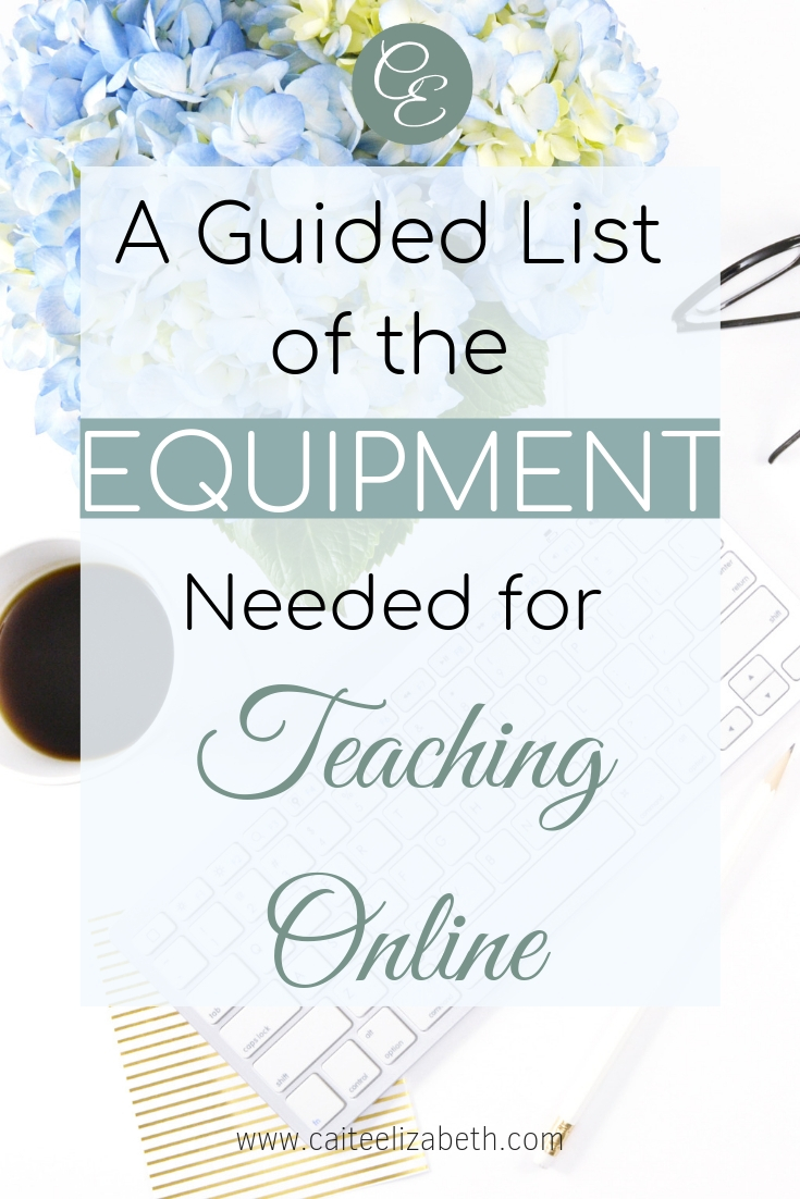graphic with coffee mug and blue flowers with the writing over the top - A Guided list of the equipment needed for teaching online