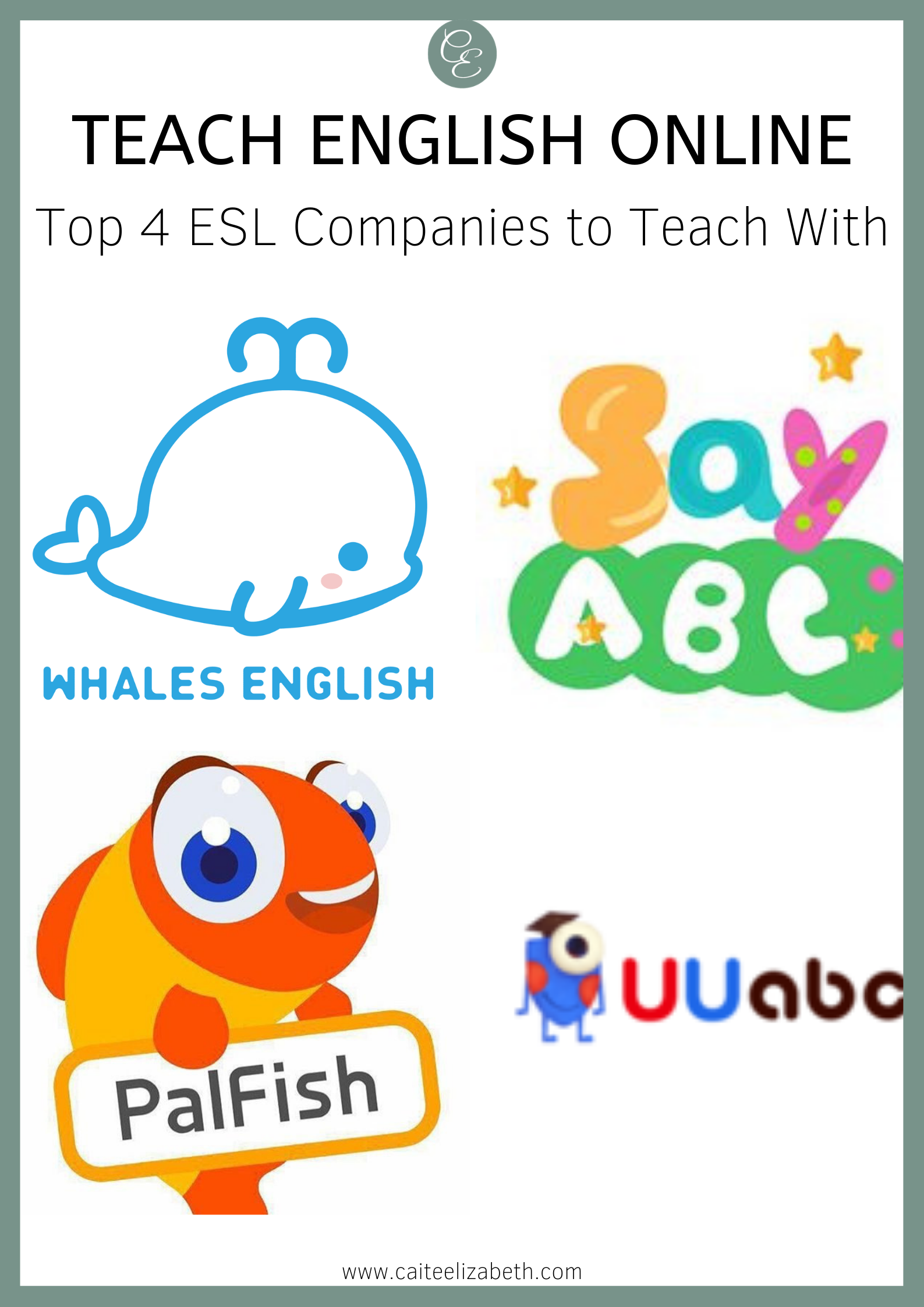 graphic of 4 different online ESL companies' logos. Whales English, SayABC, PalFish, UUabc