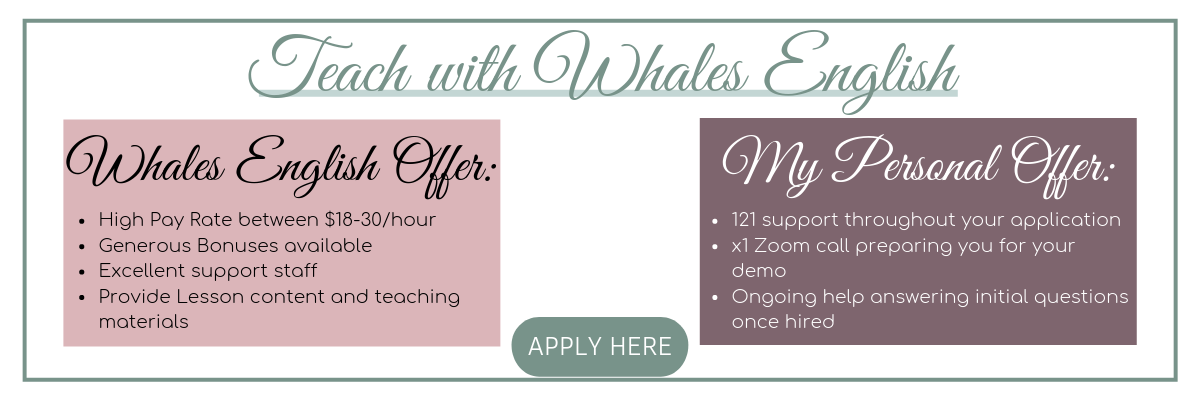 A text based image listing benefits of working with Whales English for potential candidates to click and apply