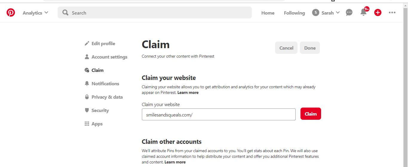 Claim Website page on Pinterest