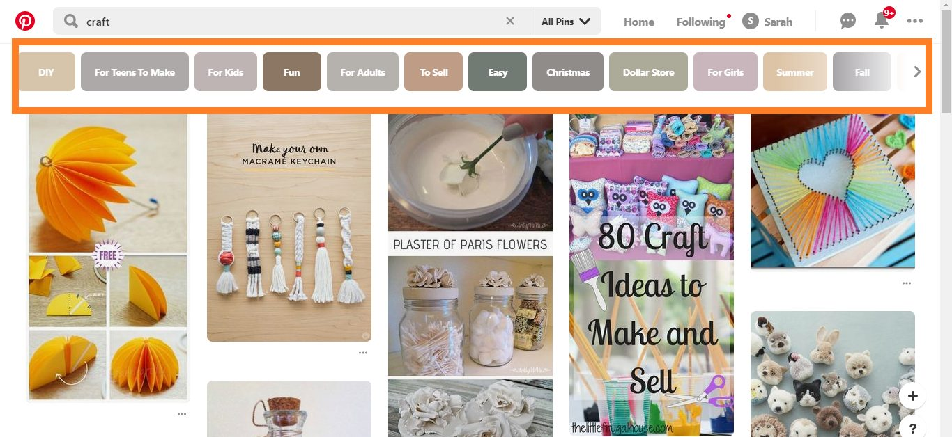 Craft search in Pinterest