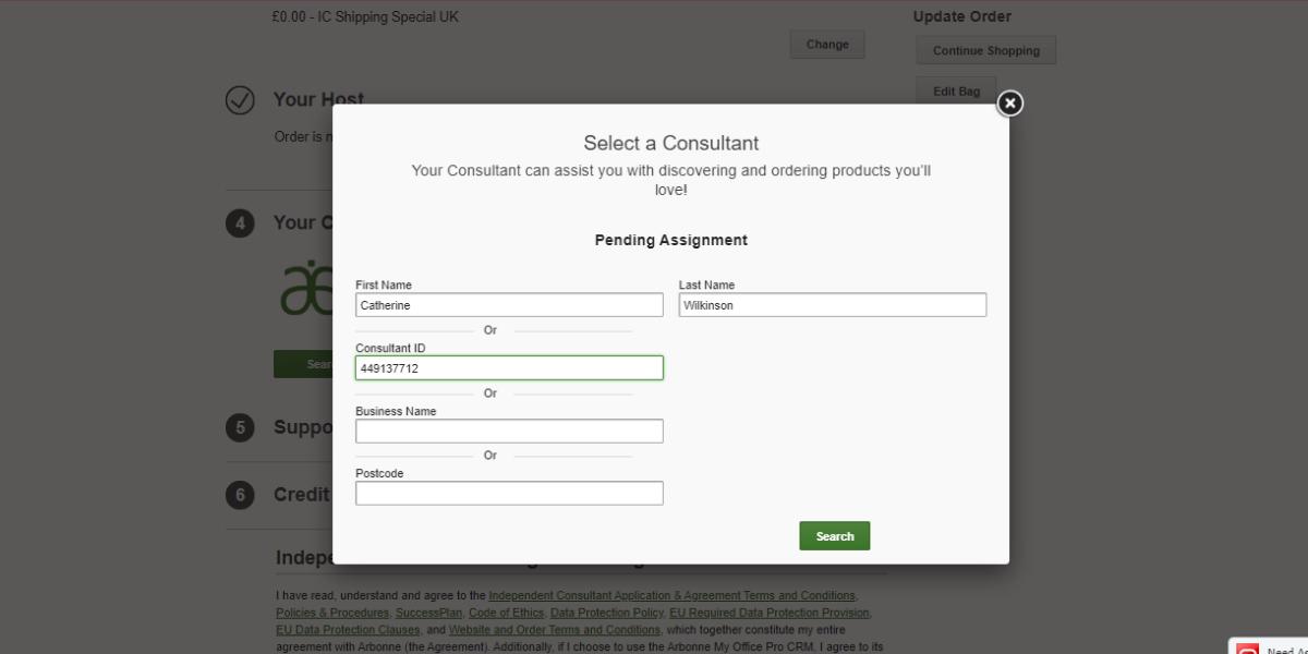 Enter Consultant details