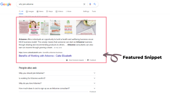 featured snippet Arbonne