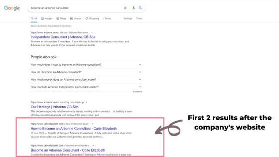 Google ranking for Arbonne