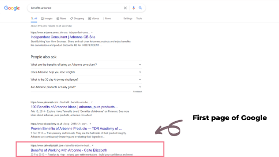 first page of Google for Arbonne